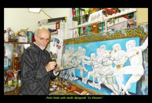 Nello studio dipingendo