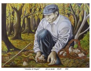 """""""Cercatore di Funghi""""   olio su tavola  55x75   1993"""